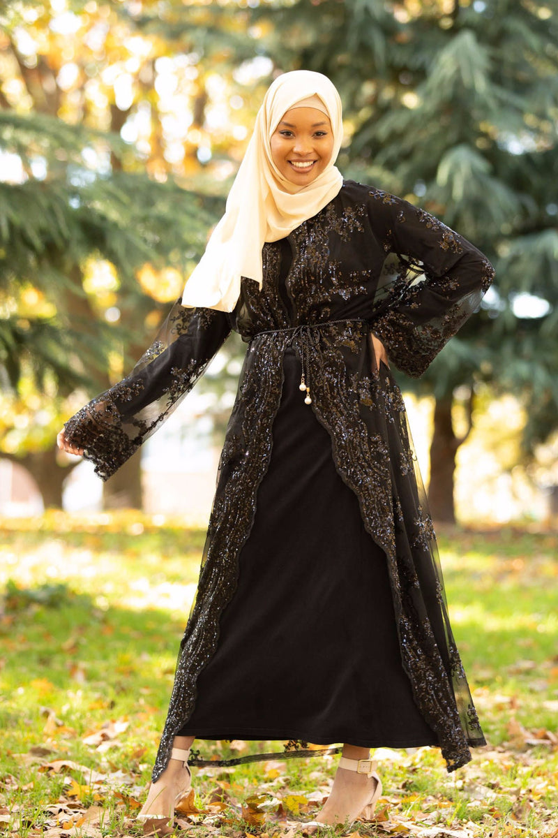 Black Sequin Sheer Open Front Abaya