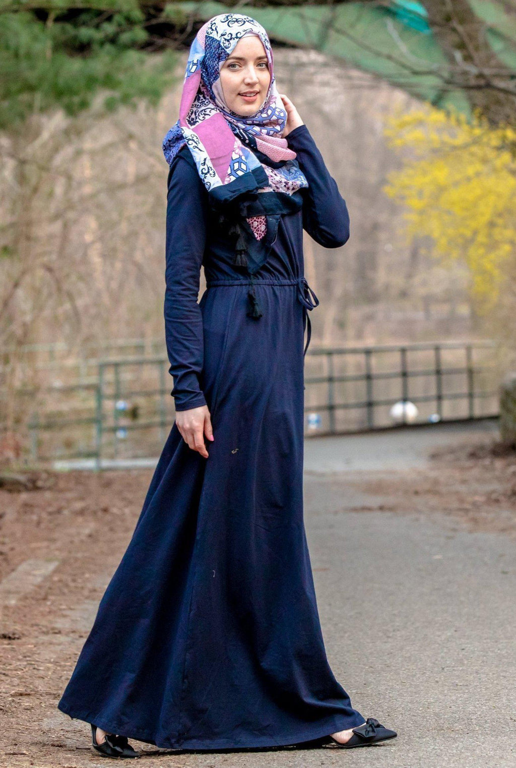 Navy Blue Drawstring Cotton Long Sleeve Maxi Dress-PREORDER - Abaya, Hijabs, Jilbabs, on sale now at UrbanModesty.com