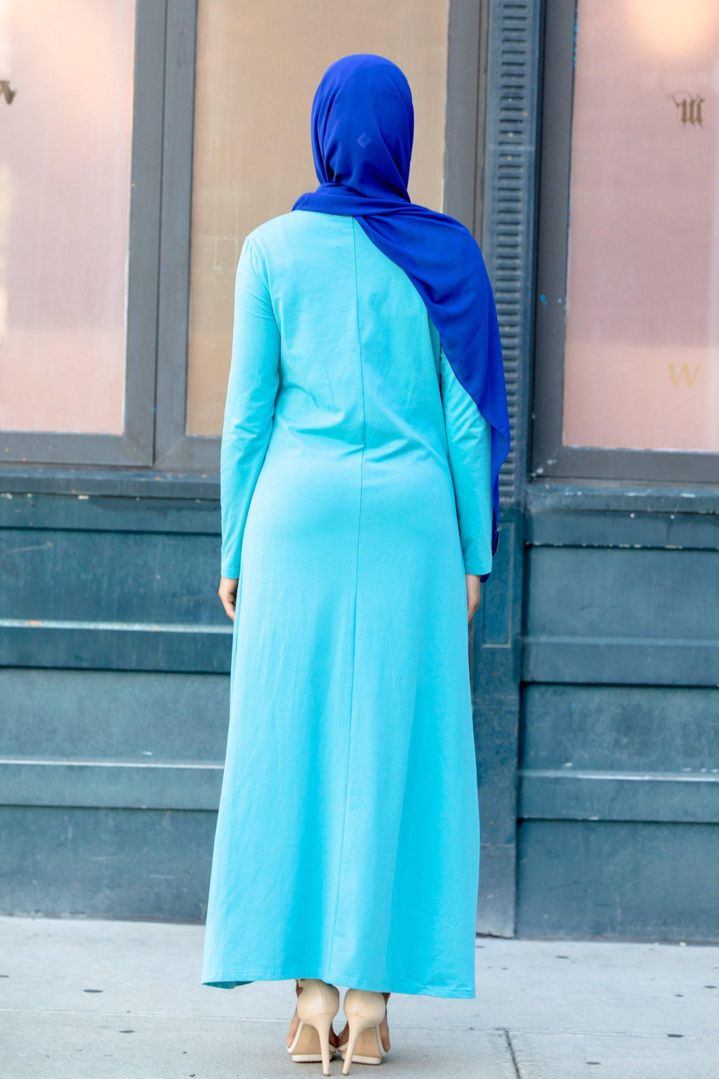 Sea Blue Cotton Long Sleeve Maxi Dress - Abaya, Hijabs, Jilbabs, on sale now at UrbanModesty.com