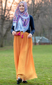 Marigold Pleated Chiffon Maxi Skirt-Clearance - Abaya, Hijabs, Jilbabs, on sale now at UrbanModesty.com