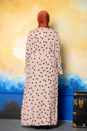 Blush Polka Dots Ruffle Non-Sheer Maxi Cardigan-Clearance - Abaya, Hijabs, Jilbabs, on sale now at UrbanModesty.com