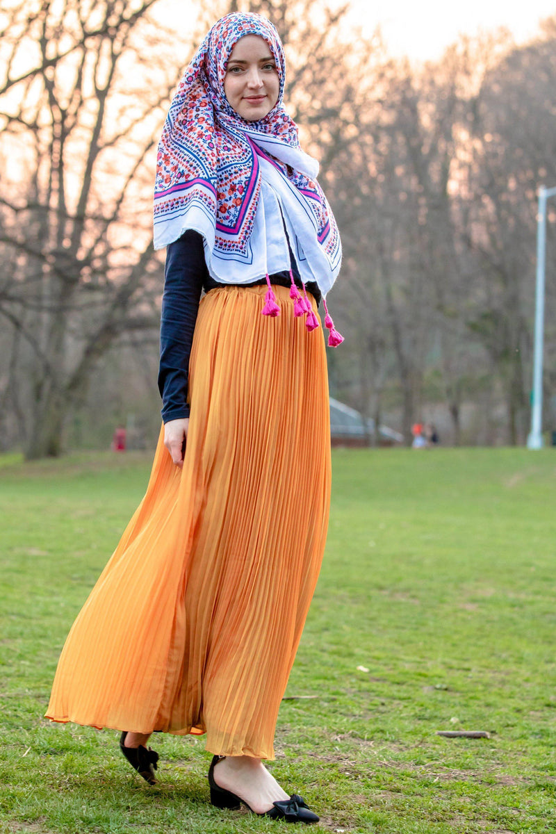 Marigold Pleated Chiffon Maxi Skirt - Abaya, Hijabs, Jilbabs, on sale now at UrbanModesty.com
