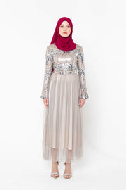 Emma Sequin Tulle Long Sleeve Evening Gown-PREORDER