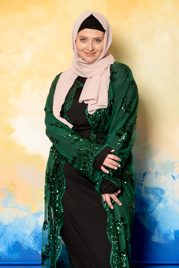 Green Envy Sequin Sheer Open Front Abaya