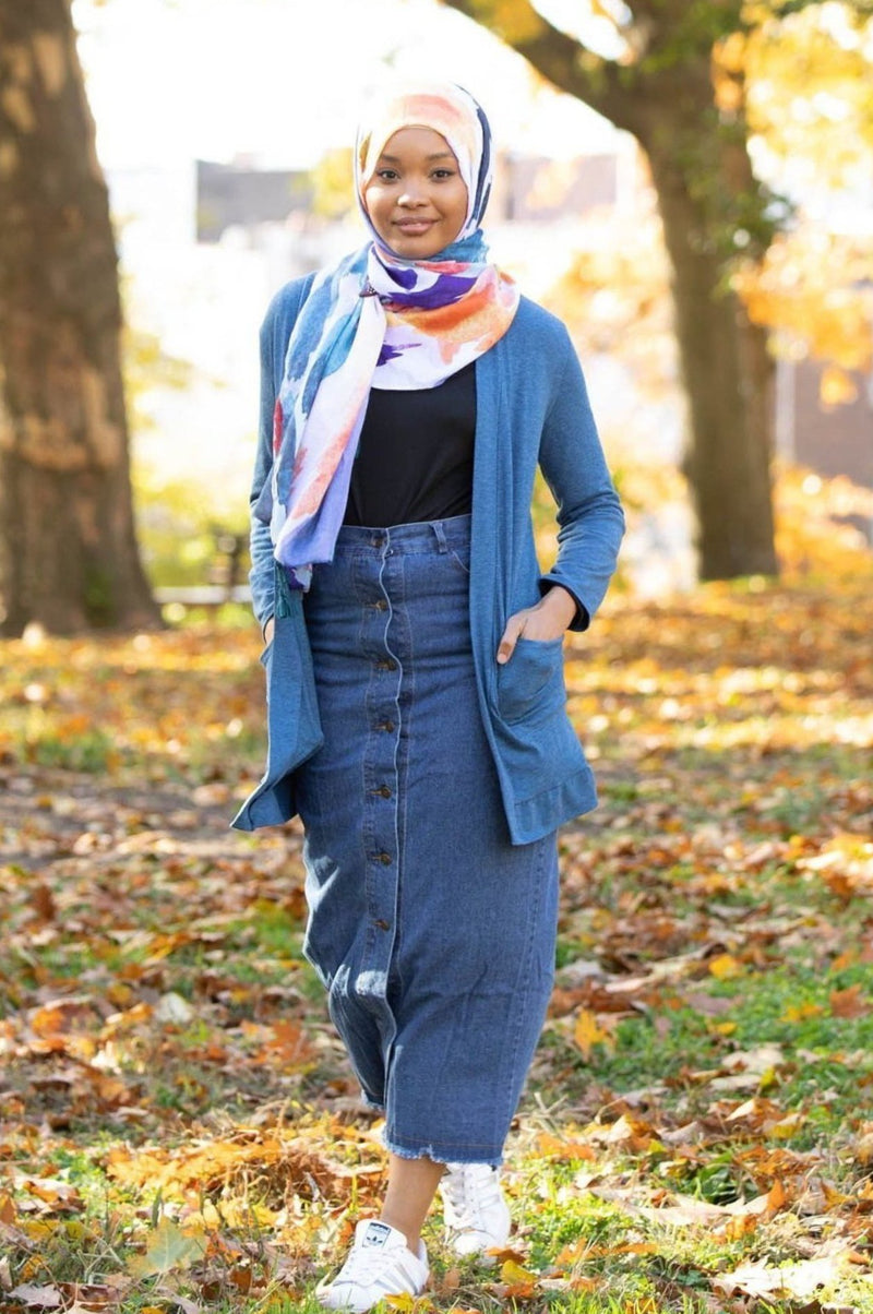 Button Down Jean Maxi Skirt - Abaya, Hijabs, Jilbabs, on sale now at UrbanModesty.com
