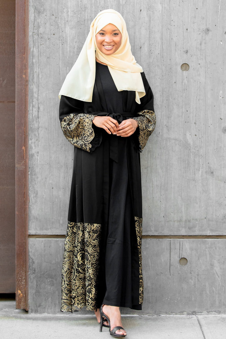 Amira Black and Gold Lace Open Front Abaya-Clearance