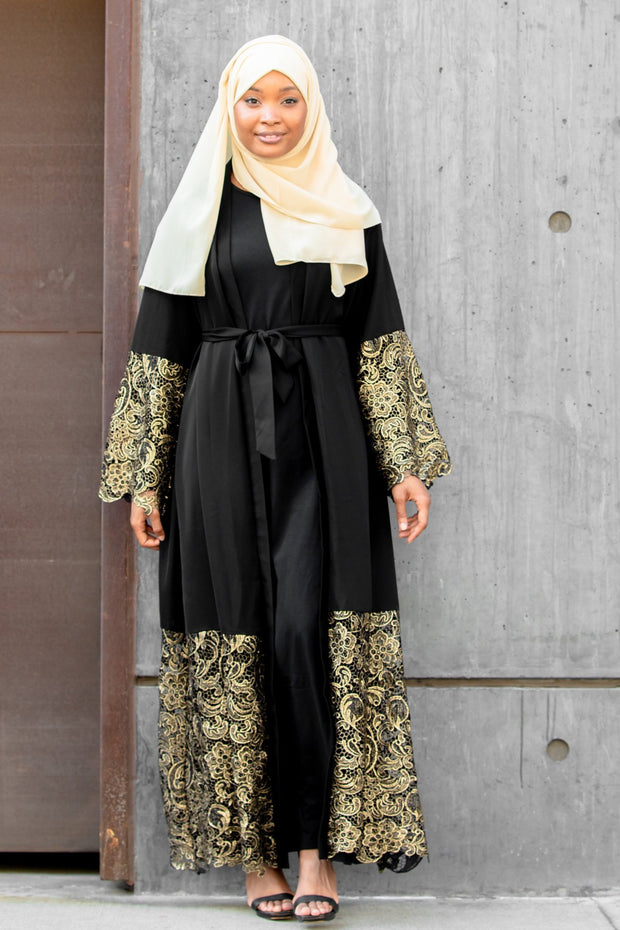 Amira Black and Gold Lace Open Front Abaya-Clearance - Abaya, Hijabs, Jilbabs, on sale now at UrbanModesty.com