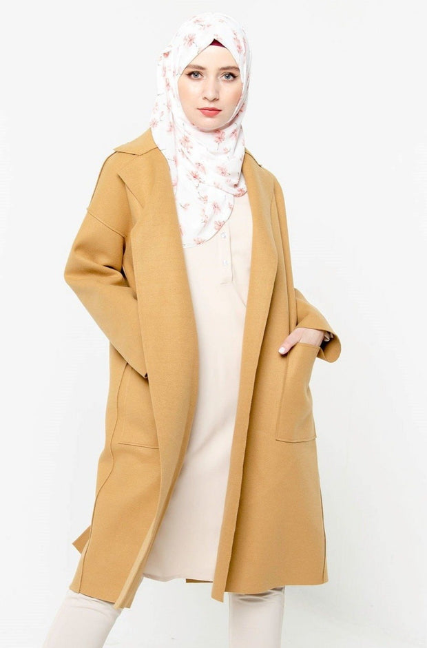 Ginger Oversized Belted Wool Modest Coat