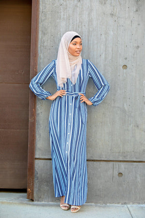Blue Striped Button Down Maxi Dress - Abaya, Hijabs, Jilbabs, on sale now at UrbanModesty.com