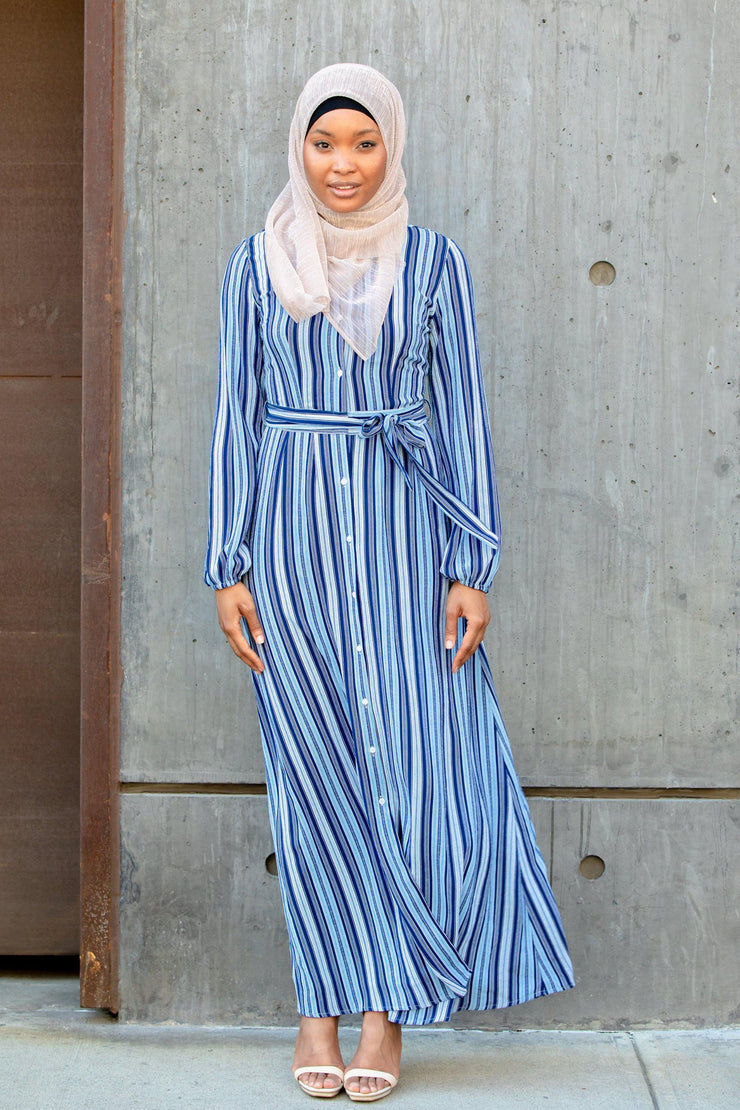 Blue Striped Button Down Maxi Dress-Clearance - Abaya, Hijabs, Jilbabs, on sale now at UrbanModesty.com