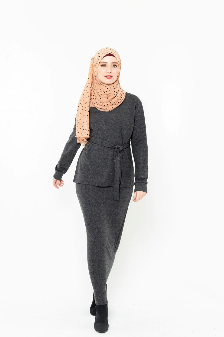 Charcoal Sweater & Skirt Set