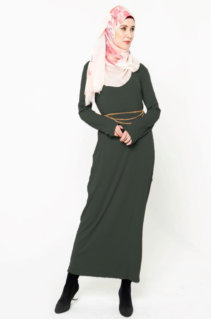 Hunter Green Ribbed Long Sleeve Maxi Dress