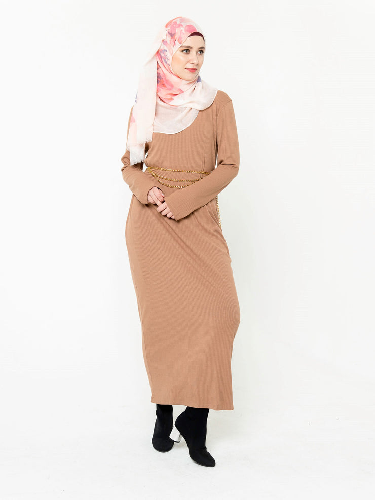 Camel Ribbed Long Sleeve Maxi Dress