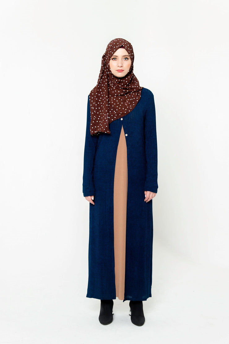 Royal Blue Ribbed Maxi Cardigan