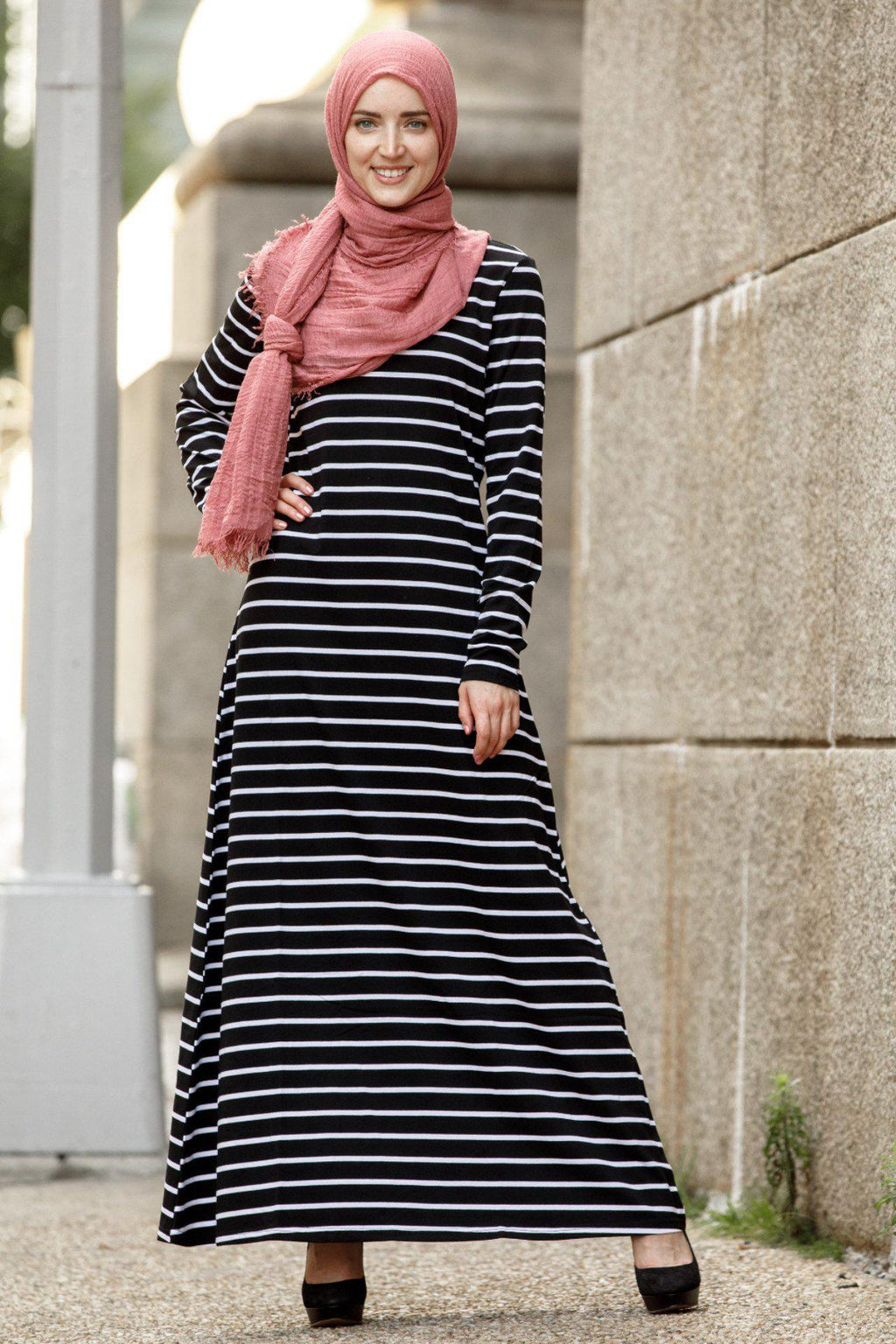 Striped Long Sleeve Maxi Dress - Abaya, Hijabs, Jilbabs, on sale now at UrbanModesty.com