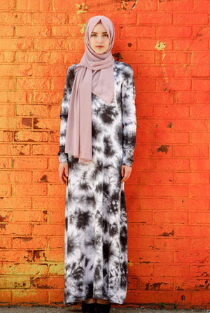 Tie Dye Long Sleeve Maxi Dress - CLEARANCE-Maxi Dresses-Urban Modesty Inc.