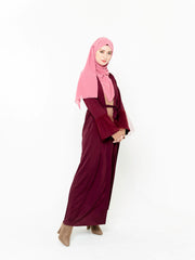 Burgundy Beauty Open Front Abaya