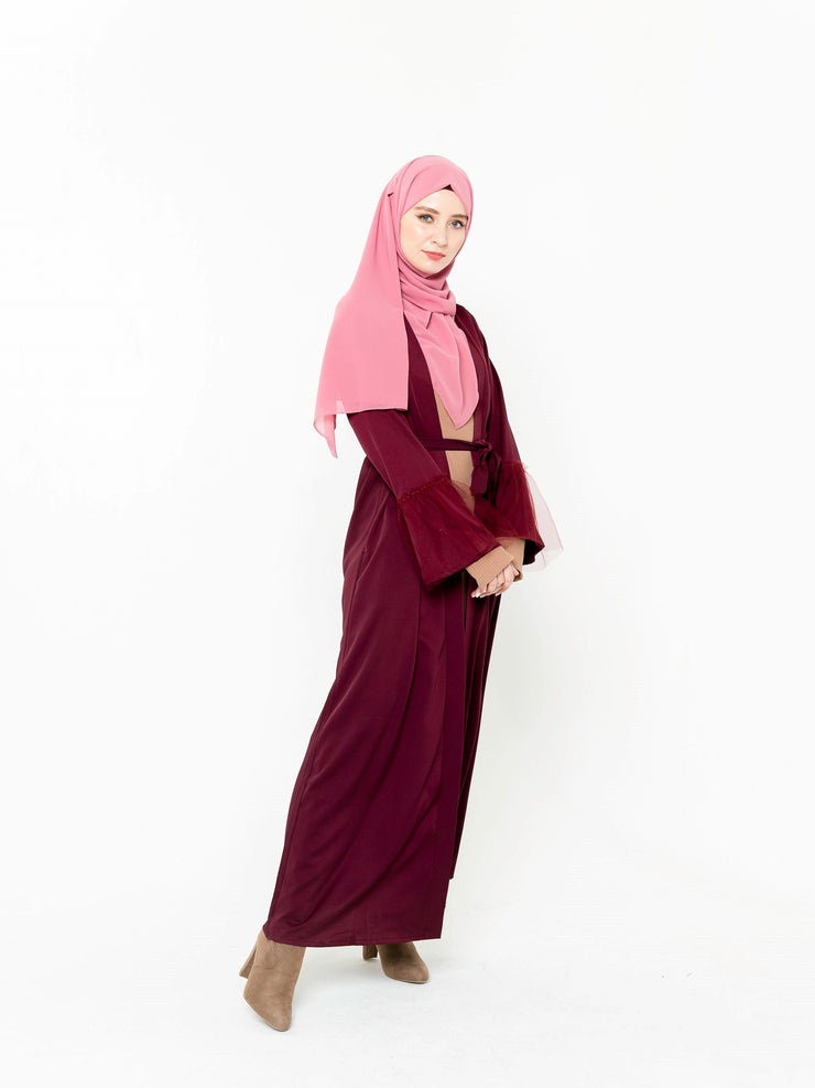Burgundy Beauty Open Front Abaya-CLEARANCE