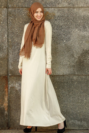 Beige Long Sleeve Maxi Dress- CLEARANCE - Abaya, Hijabs, Jilbabs, on sale now at UrbanModesty.com