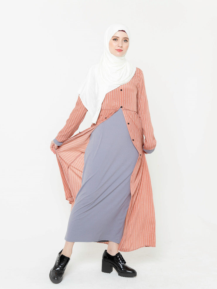 Peach Striped Non-Sheer Maxi Cardigan-CLEARANCE