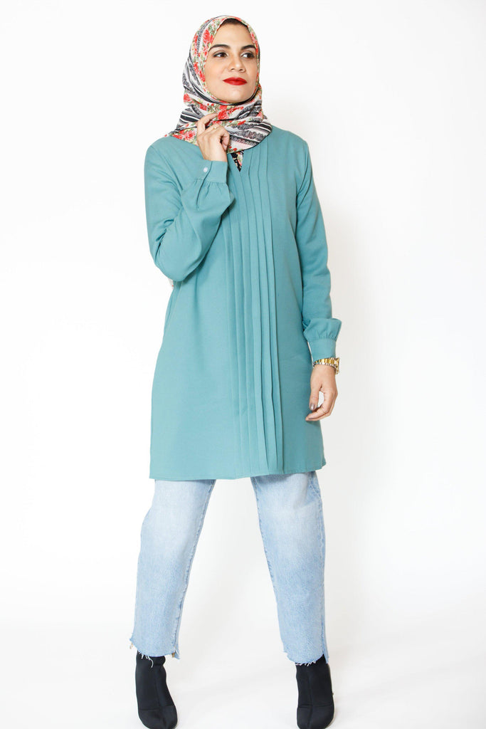 Real Teal Tunic Top-new top-Urban Modesty Inc.