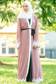 Blush Polka Dot Lace Open Front Abaya-Clearance