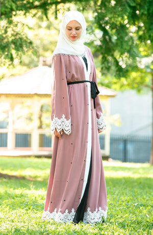 Blush Polka Dot Lace Open Front Abaya-Clearance - Abaya, Hijabs, Jilbabs, on sale now at UrbanModesty.com