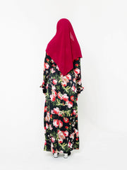 Black and Rose Floral Non-Sheer Maxi Cardigan