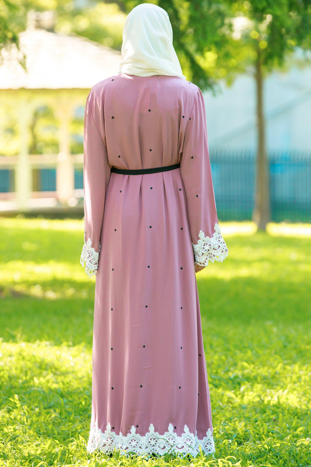 Blush Polka Dot Lace Open Front Abaya - Abaya, Hijabs, Jilbabs, on sale now at UrbanModesty.com
