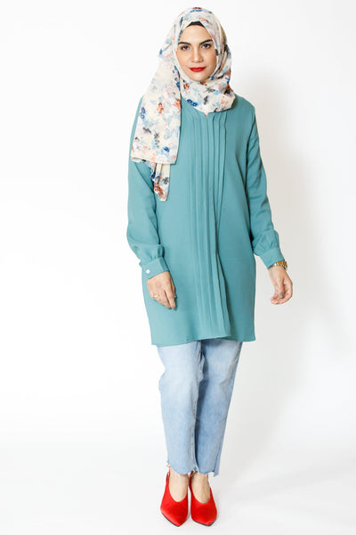 Real Teal Tunic Top-Clearance - Abaya, Hijabs, Jilbabs, on sale now at UrbanModesty.com
