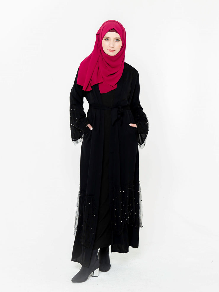 Black Mesh Pearl Open Front Abaya-CLEARANCE