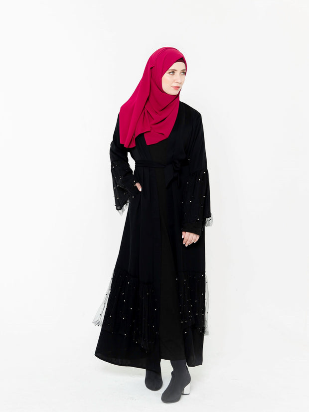 Black Mesh Pearl Open Front Abaya