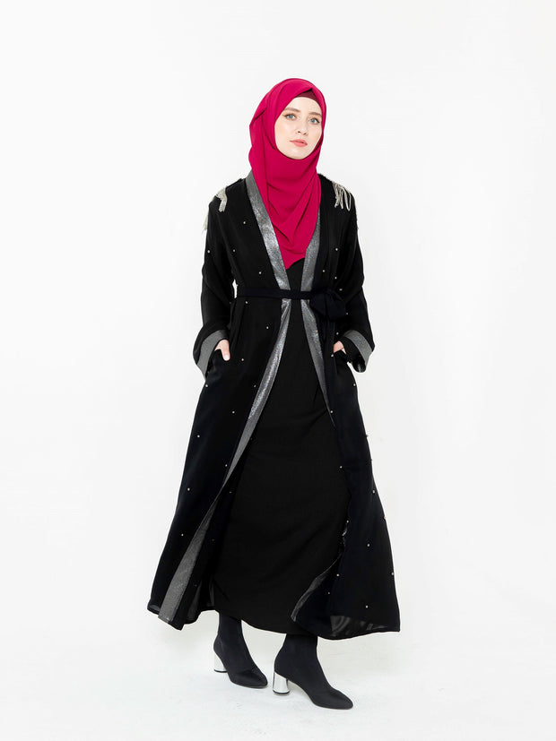Black and Silver Pearl Open Front Abaya