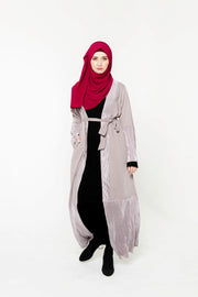 Gray-Mauve Metallic Pleated Trim Open Front Abaya