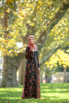 Navy and Caramel Flutter Long Sleeve Maxi Dress - Abaya, Hijabs, Jilbabs, on sale now at UrbanModesty.com