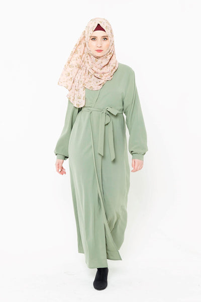 Sage Green Open Front Abaya-CLEARANCE
