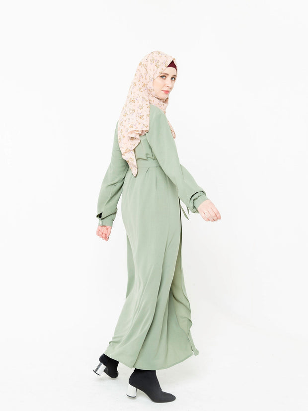 Sage Green Open Front Abaya-PREORDER