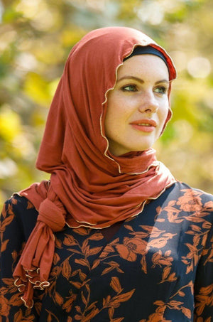 Rusty Jersey Solid With Beaded Trim Hijab - Abaya, Hijabs, Jilbabs, on sale now at UrbanModesty.com