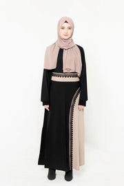 Black and Tan Colorblock Abaya Maxi Dress-Clearance