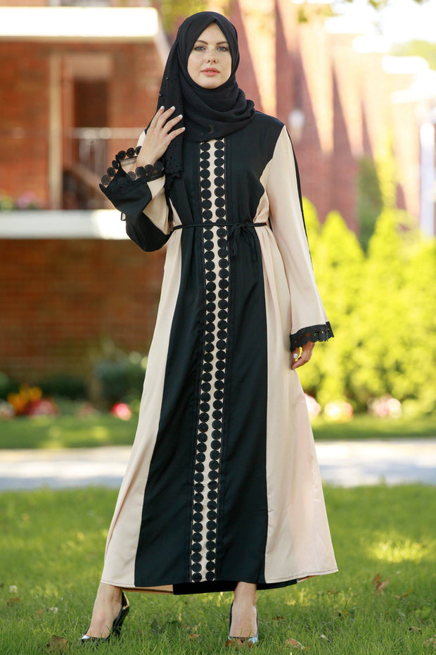 Black Lace Paneling Abaya Dress - CLEARANCE - Abaya, Hijabs, Jilbabs, on sale now at UrbanModesty.com
