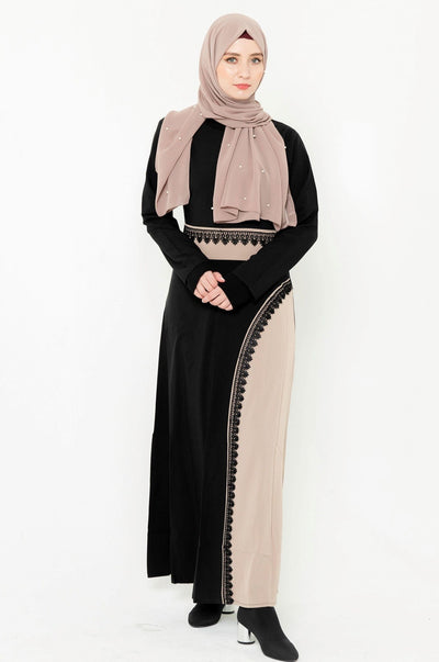 Black and Tan Colorblock Abaya Maxi Dress