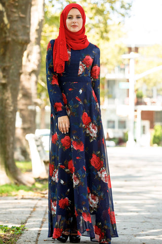 Floral Ruffle Long Sleeve Maxi Dress - CLEARANCE