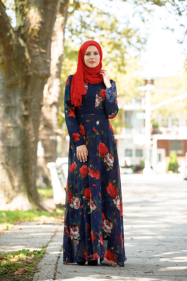 Navy Flora Long Sleeve Maxi Dress-Clearance - Abaya, Hijabs, Jilbabs, on sale now at UrbanModesty.com