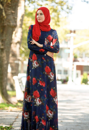 Navy Flora Long Sleeve Maxi Dress - Abaya, Hijabs, Jilbabs, on sale now at UrbanModesty.com