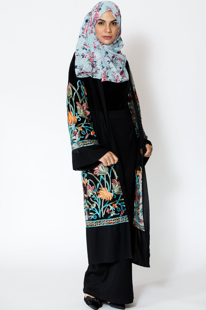 Black Floral Embroidered  Sheer Midi Cardigan - Abaya, Hijabs, Jilbabs, on sale now at UrbanModesty.com