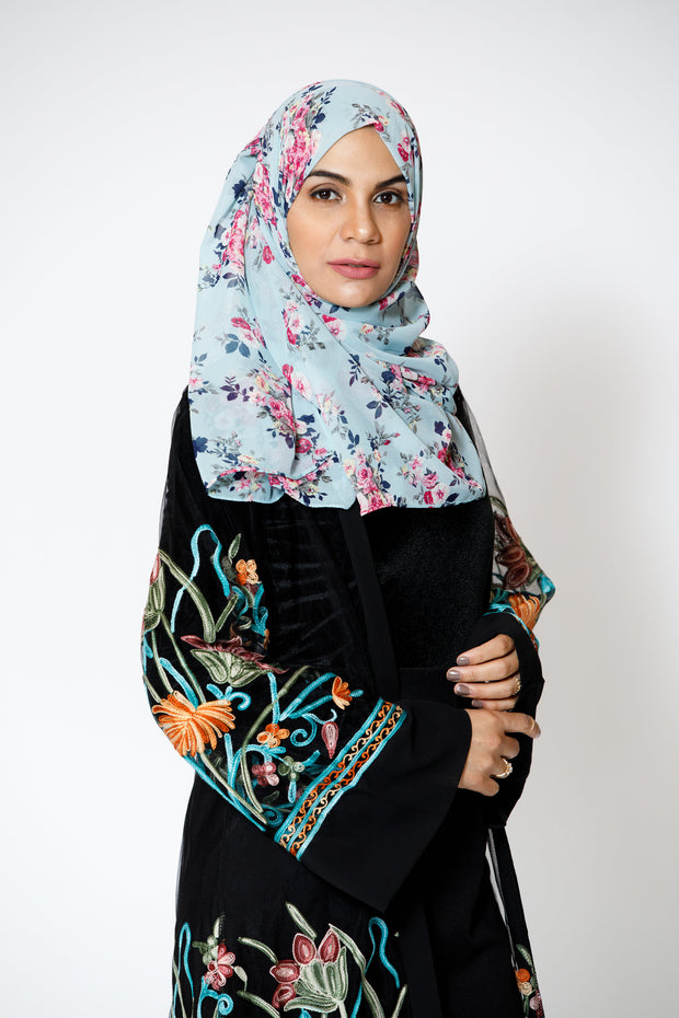 Black Floral Embroidered  Sheer Midi Cardigan-CLEARANCE - Abaya, Hijabs, Jilbabs, on sale now at UrbanModesty.com