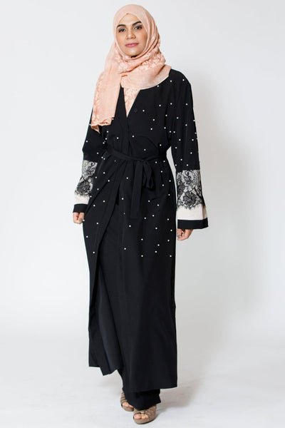 Black Pearl and Lace Open Front Abaya-Clearance
