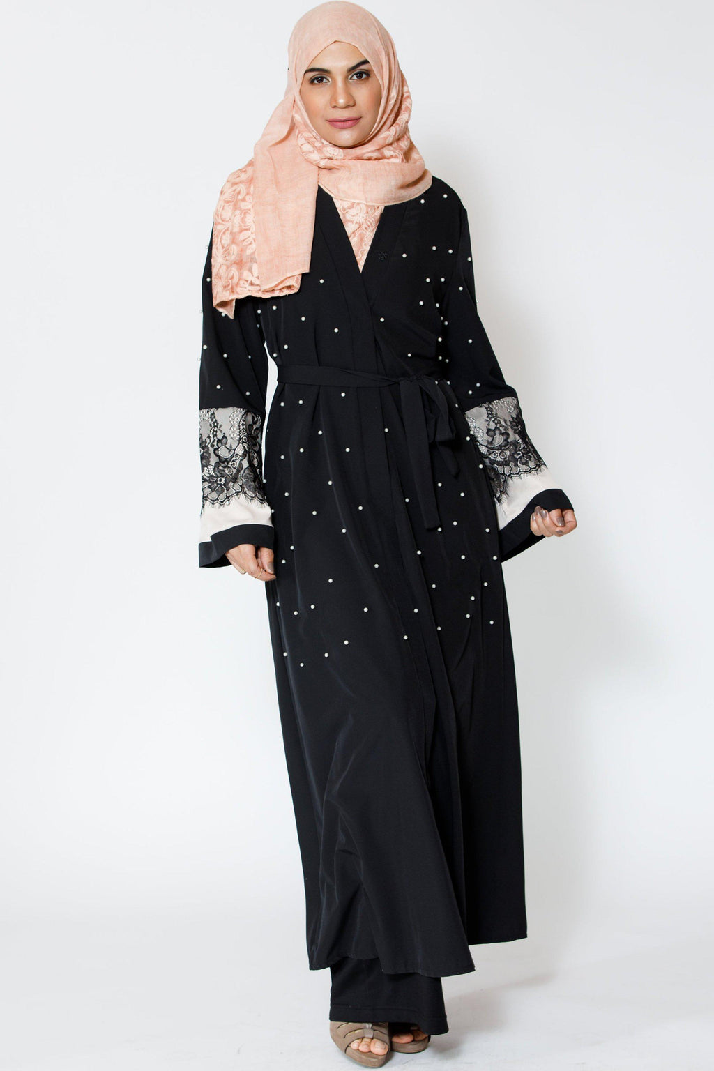 Black Pearl and Lace Open Front Abaya-Preorder-new cover up & open abaya-Urban Modesty Inc.