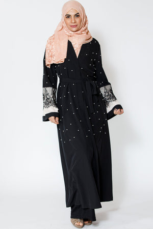 Black Pearl and Lace Open Front Abaya - Abaya, Hijabs, Jilbabs, on sale now at UrbanModesty.com