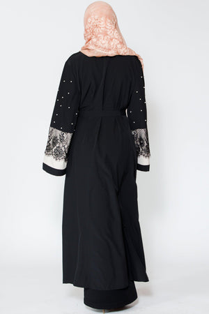 Black Pearl and Lace Open Front Abaya-Clearance - Abaya, Hijabs, Jilbabs, on sale now at UrbanModesty.com